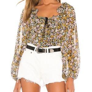 Free People Mabel Floral Blouse size Large
